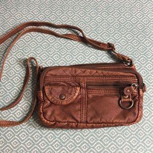 Distressed Roxy Crossbody purse faux leather